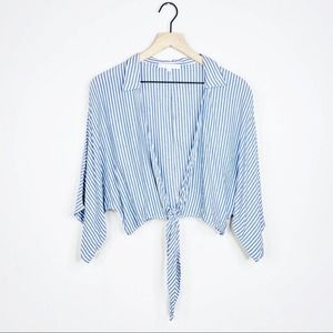 Olivaceous Blue White Striped Tie Front Blouse